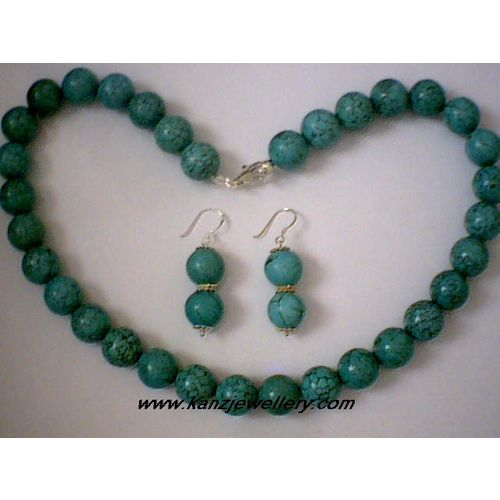 NATURAL 11MM TURQUOISE BEADS & 925 STERLING SILVER SET