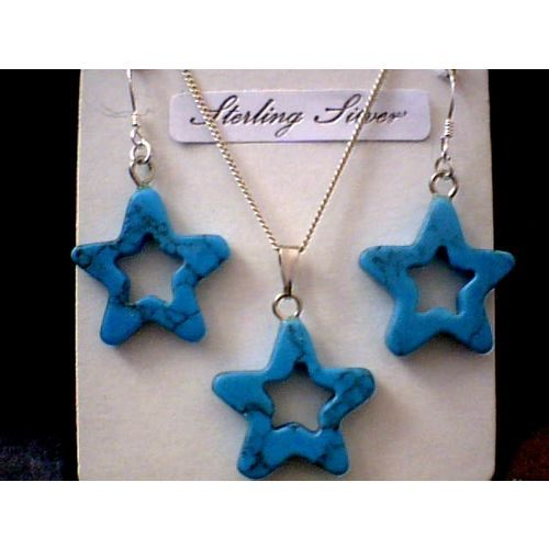 SUPERB TURQUOISE STAR & 925 STERLING SILVER QUALITY SET