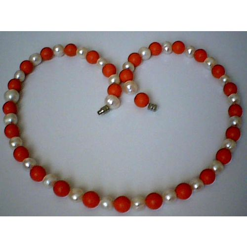 SUPERB QUALITY & SPLENDID 8MM CORAL & FW PEARL NECKLACE