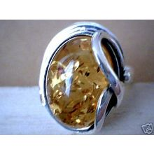 BALTIC HONEY AMBER RING & SOLID 925 STERLING SILVER Size8 10G