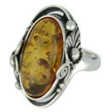 BEAUTIFUL AMBER RING WITH SOLID 925 STERLING SILVER Size7 11G