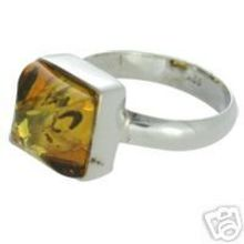 REAL BALTIC AMBER RING WITH 925 STERLING SILVER Size7 5.4 G