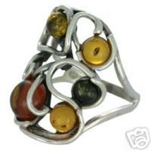 SPLENDID AMBER RING WITH SOLID 925 STERLING SILVER Size7 6.2G