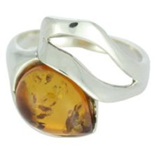 SUPERB AMBER RING WITH SOLID 925 STERLING SILVER Size8 5G