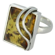 SUPERB AMBER RING WITH SOLID 925 STERLING SILVER Size7 10.3G