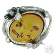 SUPERB AMBER RING WITH SOLID 925 STERLING SILVER Size 7 8G