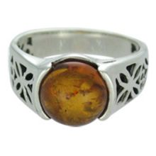 SUPERB BALTIC AMBER RING / SOLID 925 STERLING SILVER Size7 5.7G