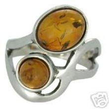 SUPERB BALTIC AMBER RING/SOLID 925 STERLING SILVER Size 5.5 5.8G