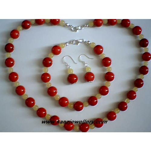 REAL BALTIC AMBER / RED CORAL & 925 STERLING SILVER SET