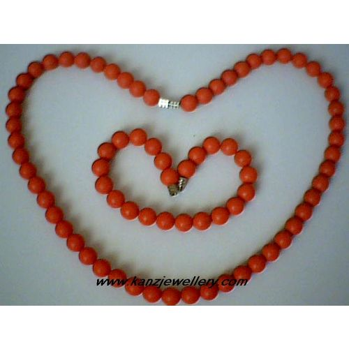 SUMPTUOUS & GENUINE RED CORAL SET NECKLACE / BRACELET