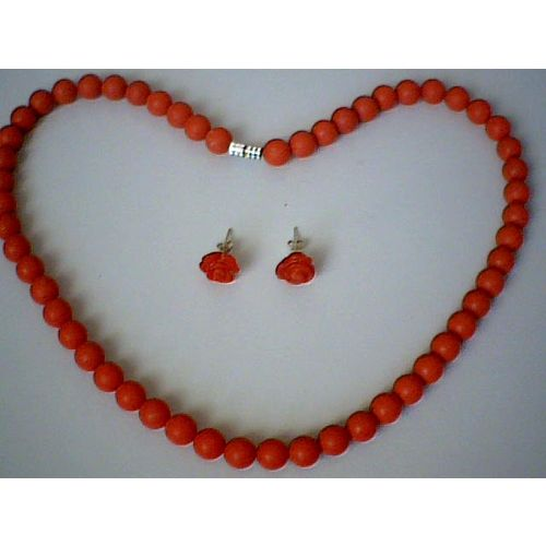 SUPERB & GENUINE RED CORAL SET NECKLACE & EARRING STUD