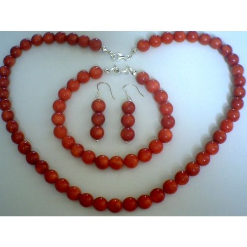 DELIGHTFUL NATURAL RED CORAL & 925 STERLING SILVER SET