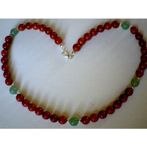 GENUINE CORAL / AVENTURINE / 925 STERLING SILVER NECKLACE