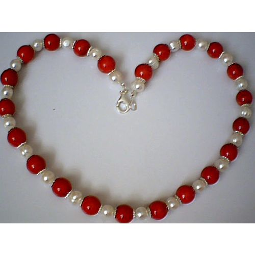 GENUINE CORAL / FWPEARL / 925 STERLING SILVER NECKLACE