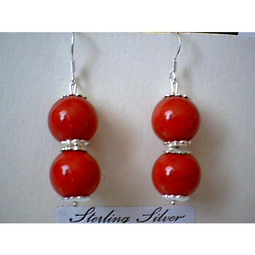NATURAL 10MM RED CORAL & 925 STERLING SILVER EARRING