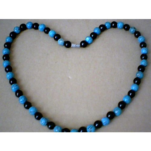 SUPERB QUALITY 8MM TURQUOISE & BLACK AGATE NECKLACE