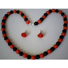 GENUINE RED CORAL & BLACK AGATE SET NECKLACE & EARRING