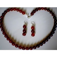 GRADE A RED AGATE BEADS & 925 STERLING SILVER SET
