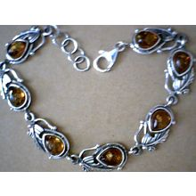 REAL AMBER BRACELET WITH SOLID 925 STERLING SILVER 17G