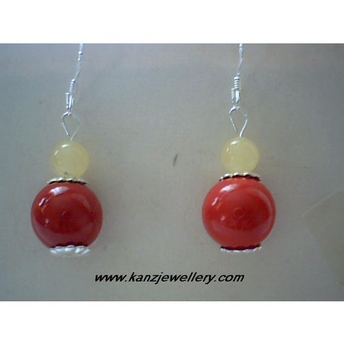 ELEGANT AMBER / CORAL EARRING & 925 STERLING SILVER