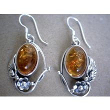 ELEGANT AMBER EARRING AND SOLID 925 STERLING SILVER 6G