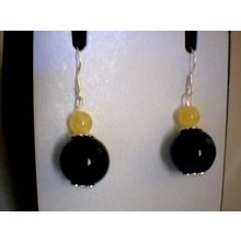 NATURAL BALTIC AMBER / BLACK AGATE & 925 STERLING SILVER EARRING