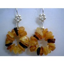 NATURAL BALTIC AMBER CHIPS & SOLID 925 STERLING SILVER EARRINGS