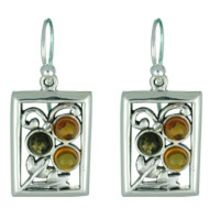 REAL AMBER EARRING WITH SOLID 925 STERLING SILVER 6.6G