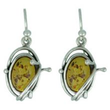 REAL AMBER EARRING WITH SOLID 925 STERLING SILVER 6.7G