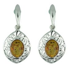 SUPERB AMBER & SOLID 925 STERLING SILVER EARRING 6.80G