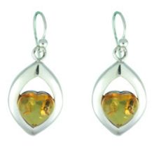 SUPERB AMBER & SOLID 925 STERLING SILVER EARRING 7.50G