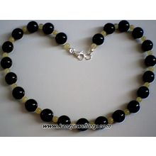 BALTIC AMBER /BLACK AGATE/ 925 STERLING SILVER NECKLACE
