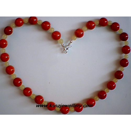 REAL BALTIC AMBER / RED CORAL & 925 STERLING SILVER NECKLACE