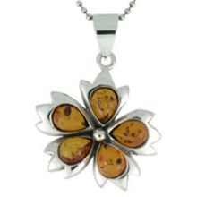 8G AMBER PENDANT & SOLID 925 STERLING SILVER