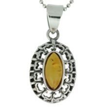REAL AMBER PENDANT WITH SOLID 925 STERLING SILVER 5.1G