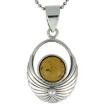 REAL AMBER PENDANT WITH SOLID 925 STERLING SILVER 5.8G