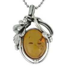 SUPERB AMBER PENDANT WITH SOLID 925 STERLING SILVER 8G