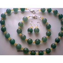 REAL BALTIC AMBER / AVENTURINE & 925 STERLING SILVER SET