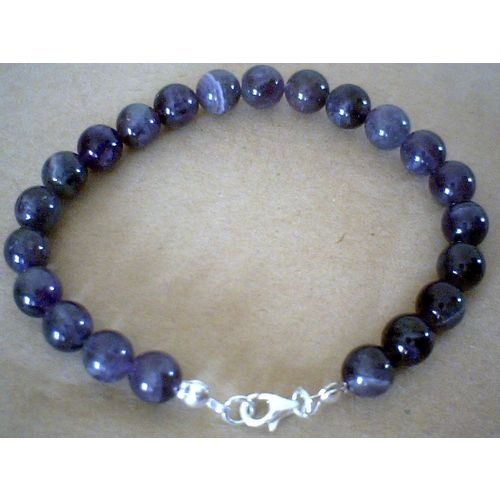 NATURAL 8MM AMETHYST & 925 STERLING SILVER BRACELET