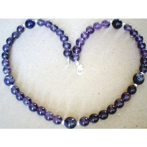 NATURAL AMETHYST NECKLACE & 925 STERLING SILVER