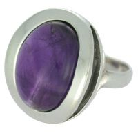 REAL AMETHYST RING WITH SOLID 925 STERLING SILVER 12.1G