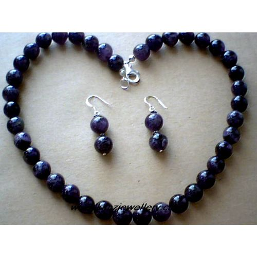 SUPERB NATURAL 10MM AMETHYST & 925 STERLING SILVER SET