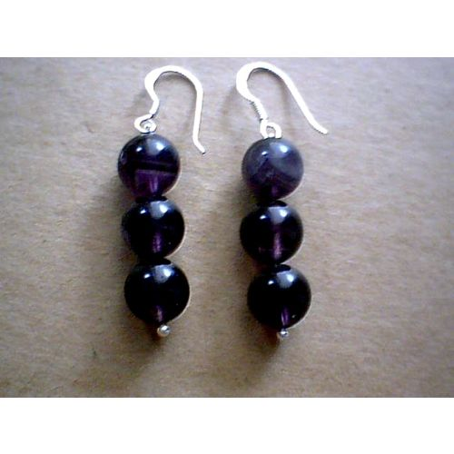 SUPERB NATURAL AMETHYST EARRINGS & 925 STERLING SILVER