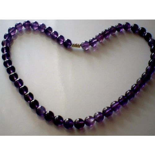 SUPERB QUALITY & BEAUTIFUL 8MM BEADS AMETHYST NECKLACE