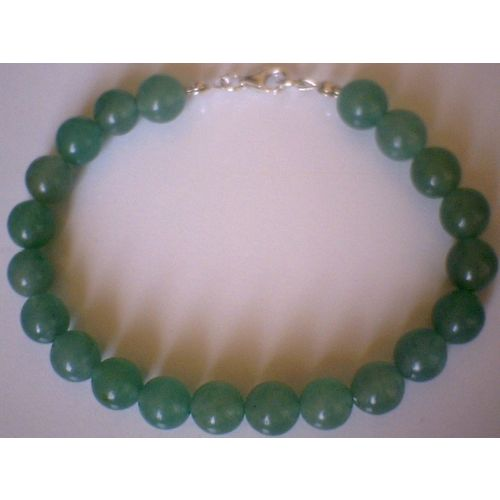8MM NATURAL AVENTURINE & 925 STERLING SILVER BRACELET