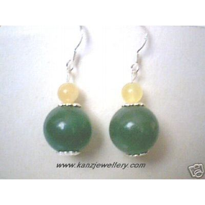 REAL AMBER / AVENTURINE EARRING & 925 STERLING SILVER