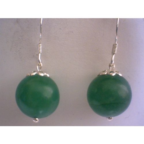 SUPERB NATURAL AVENTURINE EARRING & 925 STERLING SILVER