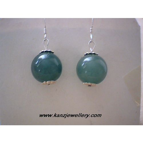 SUPERB REAL AVENTURINE EARRING & 925 STERLING SILVER