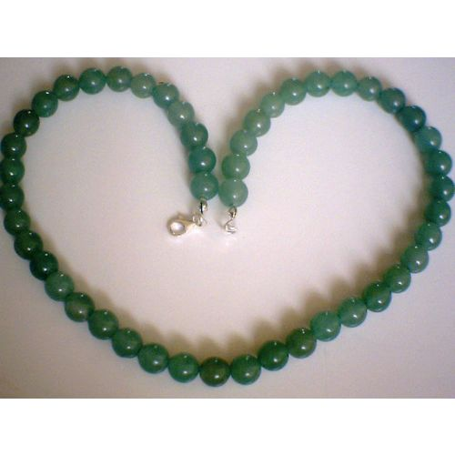 8MM NATURAL AVENTURINE & 925 STERLING SILVER NECKLACE