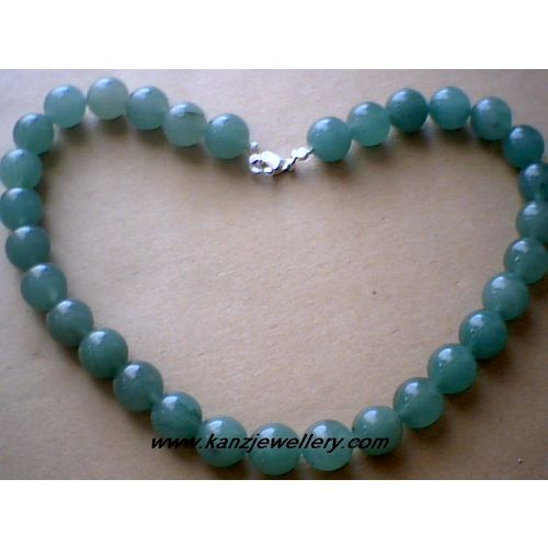 GENUINE 12MM AVENTURINE / 925 STERLING SILVER NECKLACE
